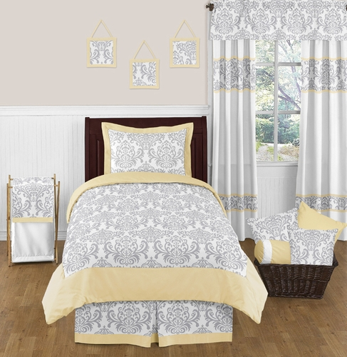 Yellow and Gray Avery Childrens and Kids Bedding - 4pc Twin Set by Sweet Jojo Designs - Click to enlarge