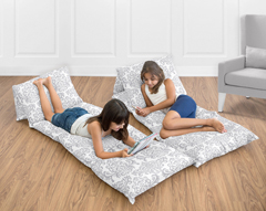 Gray and White Damask Kids Teen Floor Pillow Case Lounger Cushion Cover by Sweet Jojo Designs