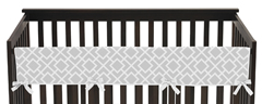 Gray and White Diamond Baby Crib Long Rail Guard Cover by Sweet Jojo Designs
