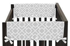 Gray and White Diamond Baby Crib Side Rail Guard Covers by Sweet Jojo Designs - Set of 2
