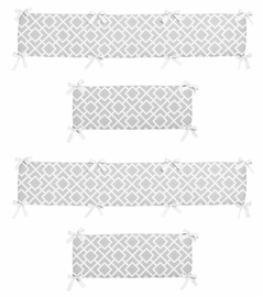 Gray and White Diamond Collection Crib Bumper by Sweet Jojo Designs