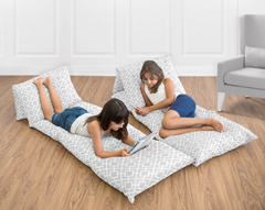 Gray and White Diamond Collection Kids Teen Floor Pillow Case Lounger Cushion Cover