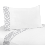 3 pc Twin Sheet Set for Gray and White Diamond Bedding Collection by Sweet Jojo Designs