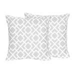 Gray and White Diamond Decorative Accent Throw Pillows by Sweet Jojo Designs - Set of 2