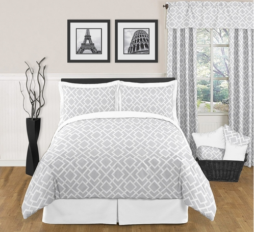 Gray and White Diamond Modern Contemporary Full/Queen 3pc Bedding Set - Click to enlarge