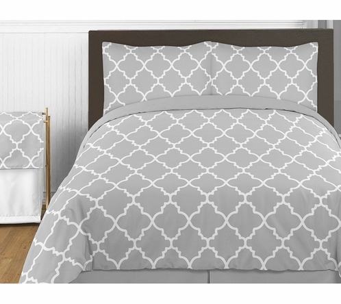 Gray and White Trellis 4pc Childrens and Kids Twin Bedding Set by Sweet Jojo Designs - Click to enlarge