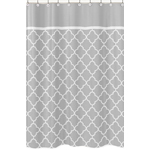 Gray and White Trellis Childrens Bathroom Fabric Bath Shower Curtain by Sweet Jojo Designs