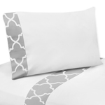 4 pc Queen Sheet Set for Gray and White Trellis Bedding Collection