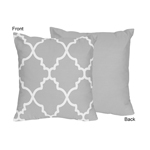 Gray and White Trellis Decorative Accent Throw Pillow by Sweet Jojo Designs