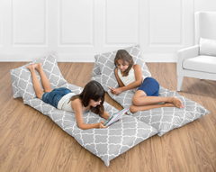 Gray and White Trellis Kids Teen Floor Pillow Case Lounger Cushion Cover by Sweet Jojo Designs