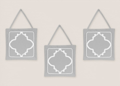 Gray and White Trellis Wall Hanging Accessories by Sweet Jojo Designs