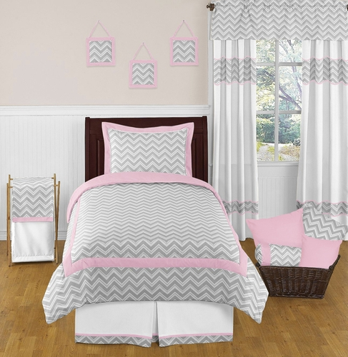 Pink and Gray Chevron Childrens and Kids Bedding - 4pc Twin Set by Sweet Jojo Designs - Click to enlarge