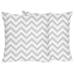 Gray and White Zig Zag Decorative Chevron Accent Throw Pillows by Sweet Jojo Designs - Set of 2