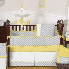 Gray and Yellow Chevron Zig Zag Baby Bedding - 9pc Crib Set by Sweet Jojo Designs
