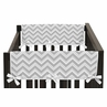 Gray and Yellow Chevron Zig Zag Baby Crib Side Rail Guard Covers by Sweet Jojo Designs - Set of 2