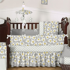 Gray and Yellow Helena Baby Bedding - 6 pc Crib Set