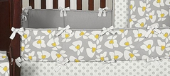 Gray and Yellow Helena  Baby Crib Bumper Pad