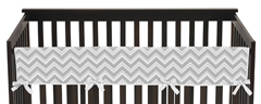 Gray and Yellow Zig Zag Chevron Baby Crib Long Rail Guard Cover by Sweet Jojo Designs