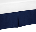 Navy Twin Bed Skirt for Navy Blue and Gray Stripe Bedding Sets