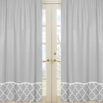 JoJo Designs Gray and White Trellis Collection Window Panels