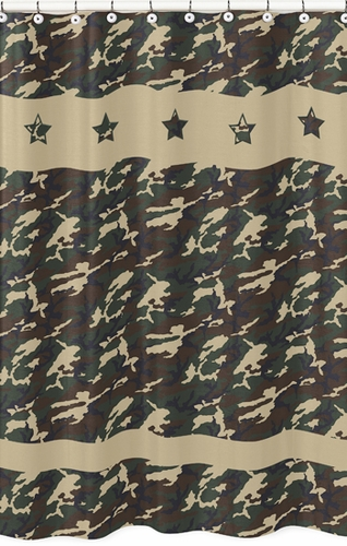 Green Camo Army Camouflage Kids Bathroom Fabric Bath Shower ...