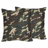 Green Camo Army Military Decorative Accent Throw Pillows - Set of 2