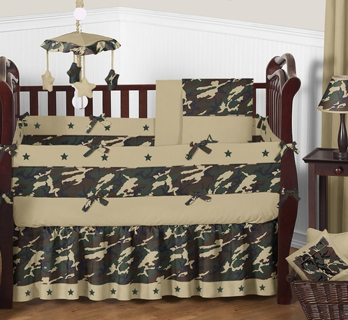 Green Camo Baby Bedding - 9pc Crib Set - Click to enlarge