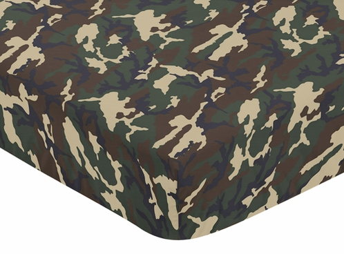 Green Camo Fitted Crib Sheet For Baby And Toddler Bedding