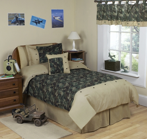 Green Camo Teen Bedding 3pc Full Queen Set only $119 99