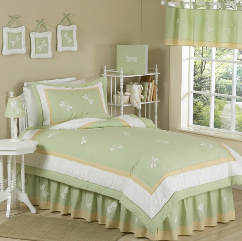 Green Dragonfly Dreams Childrens Bedding -  4pc Twin Set - Click to enlarge