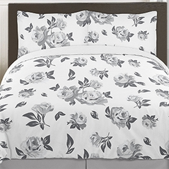Grey and White Shabby Chic Floral 3pc Teen Full / Queen Bedding Set by Sweet Jojo Designs