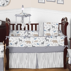 Grey and White Woodland Animals Baby Bedding - 9 pc Crib Set by Sweet Jojo Designs