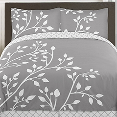 Grey and White Woodland Branches 3pc Teen Full / Queen Bedding Set Collection by Sweet Jojo Designs