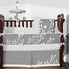 Grey and White Woodland Branches Baby Bedding - 9pc Crib Set by Sweet Jojo Designs