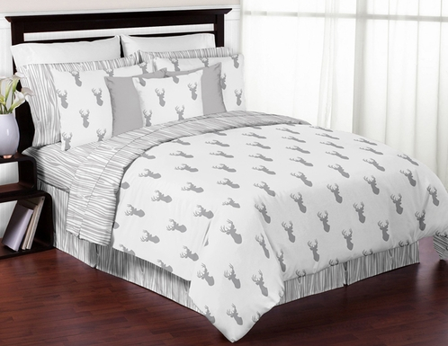 Grey and White Woodland Deer 3pc Boys Full / Queen Bedding Set by Sweet Jojo Designs - Click to enlarge