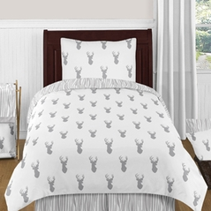 Grey and White Woodland Deer 4pc Twin Boy Bedding Set by Sweet Jojo Designs
