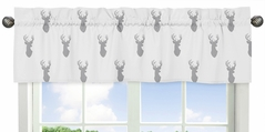 Grey and White Woodland Deer Collection Window Valance by Sweet Jojo Designs