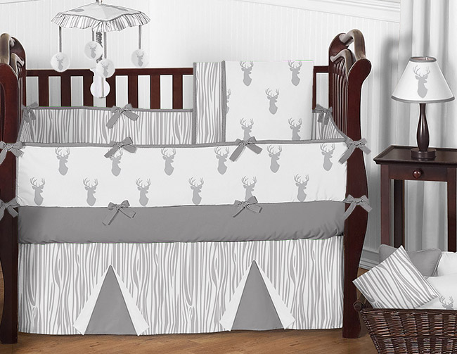 Grey and White Woodland Deer Baby Bedding 9pc Boys Crib Set by Sweet Jojo Designs