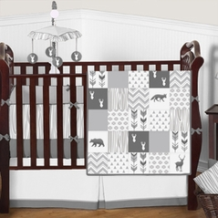 Grey and White Woodsy Deer Baby Bedding 9pc Boys Girls Crib Set by Sweet Jojo Designs