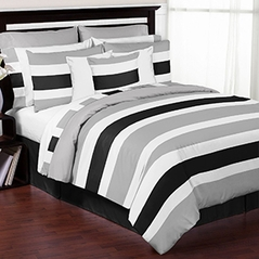 Grey, Black and White Childrens, Kids, and Teen 3 Piece Full / Queen Stripe Bedding Set Collection by Sweet Jojo Designs
