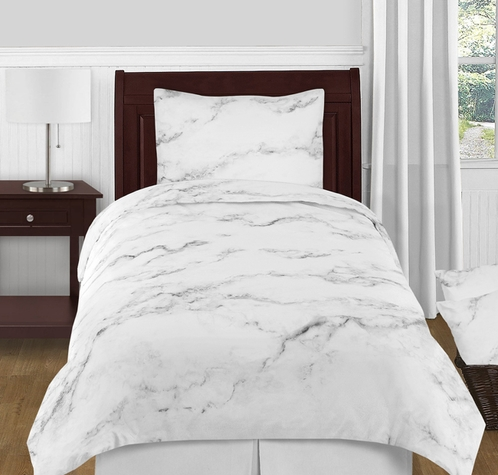 Grey Black And White Marble 4pc Twin Xl Bedding Set By