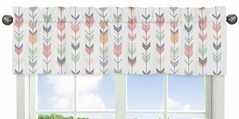 Window Valance for Grey, Coral and Mint Woodland ArrowCollection by Sweet Jojo Designs