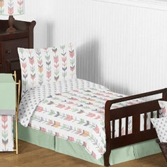 Grey, Coral and Mint Woodland Arrow Girls Toddler Bedding - 5pc Set by Sweet Jojo Designs