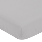 Grey Fitted Crib Sheet for Black and White Fox Collection Baby/Toddler Bedding by Sweet Jojo Designs