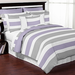 Grey, Lavender and White Stripe 4 Piece Childrens, Kids, and Teen Bedding Set Collection by Sweet Jojo Designs