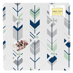 Grey, Navy Blue and Mint Woodland Arrow Fabric Memory/Memo Photo Bulletin Board by Sweet Jojo Designs