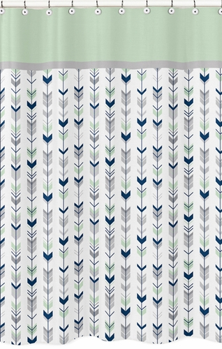 Grey Navy Blue And Mint Woodland Arrow Kids Bathroom Fabric Bath Shower Curt