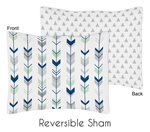 Grey, Navy Blue and Mint Woodland Arrow Pillow Sham by Sweet Jojo Designs by Sweet Jojo Designs