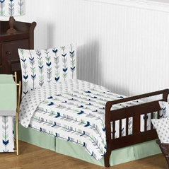 Grey, Navy Blue and Mint Woodland Arrow Toddler Bedding - 5pc Set by Sweet Jojo Designs