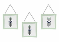 Grey, Navy Blue and Mint Woodland Arrow Wall Hanging Accessories by Sweet Jojo Designs